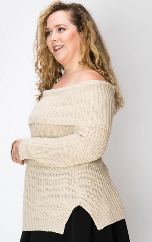 Oatmeal Off Shoulder Sweater - Plus