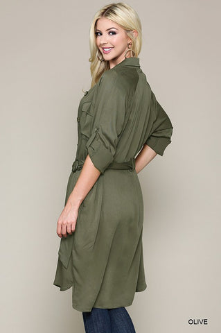 Olive Trench Style Dress