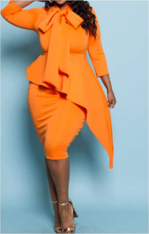 Orange Peplum Dress With Bow-Tie - Plus