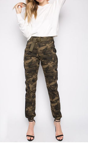 Camo Jogger With Belt & Elastic Ankle - Plus