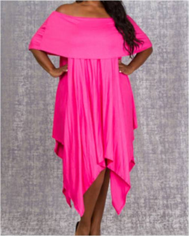 Plus Pink/Fuchsia Off Shoulder Asymmetrical Hem Dress