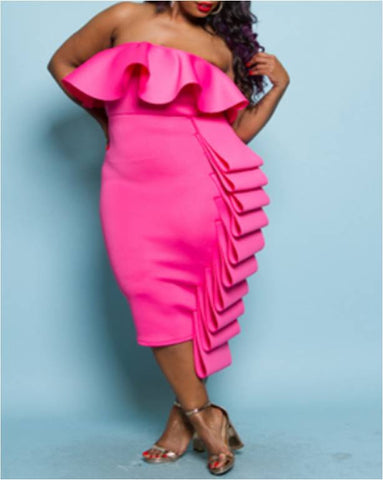 Fuchsia Strapless Plus Size Dress With Side Ruffle - 30% OFF