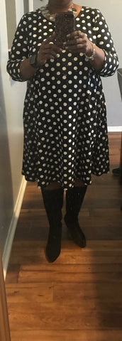 Black and White Polka Dot Dress- Plus