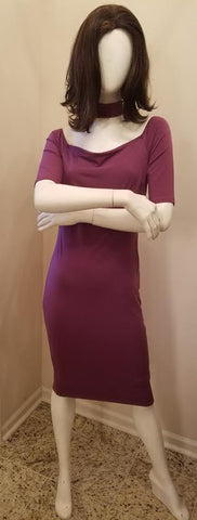 Purple Midi Dress With Attached Choker