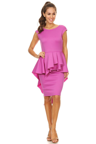 Purple Sleeveless Peplum Dress