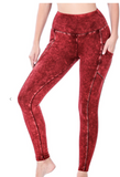 Red Mineral Wash Pants Set