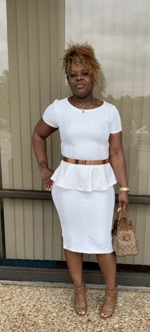 Off White Ribbed Pencil Skirt and Peplum Top