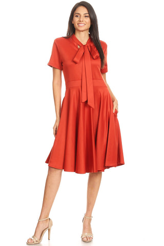 Rust Fit and Flare Dress