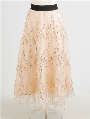 Apricot Sequin Skirt