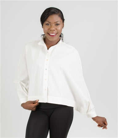 White Cape Top WIth Multi-Colored Buttons - Plus & Regular Sizes