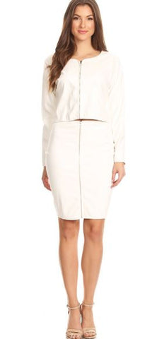 White Faux Leather Skirt Set