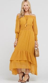 Mustard Lemonade Off Shoulder Dress