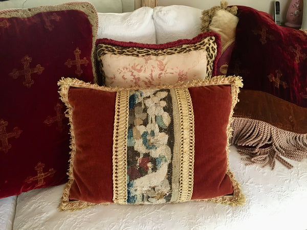 1900's Abusson Tapestry Panel With Mohair Velvet Accent Pillow