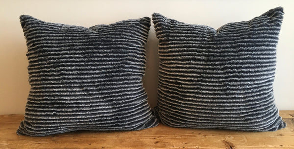 Faux Fur Sheared Chinchilla Pillow Covers in Black & Ivory (Pair)