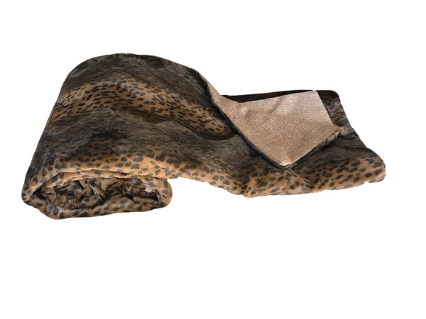 Leopard Faux Fur & Cashmere Throw