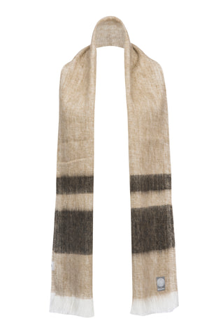 Unisex Alpaca Fringed Scarf in Oatmeal/Taupe