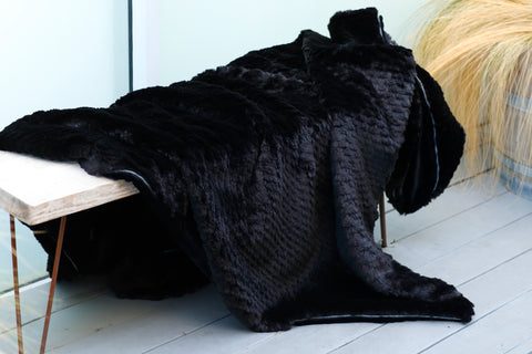 Black Polar Faux Fur Throw