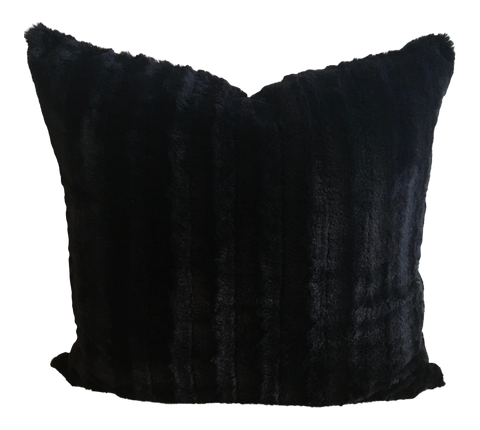 Onyx Channeled Faux Fur & Chevron Reverse Double-Sided Pillow Cover