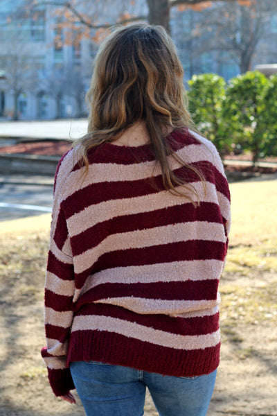 SALE- Candy Cane Lover Sweater- Wine/Taupe