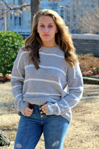 Cozy Chenille Sweater- Silver