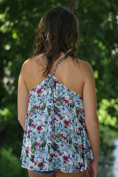 Field of Flowers Tank- Berry Arabella Boutique