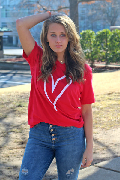 Heart Graphic Tee- Red