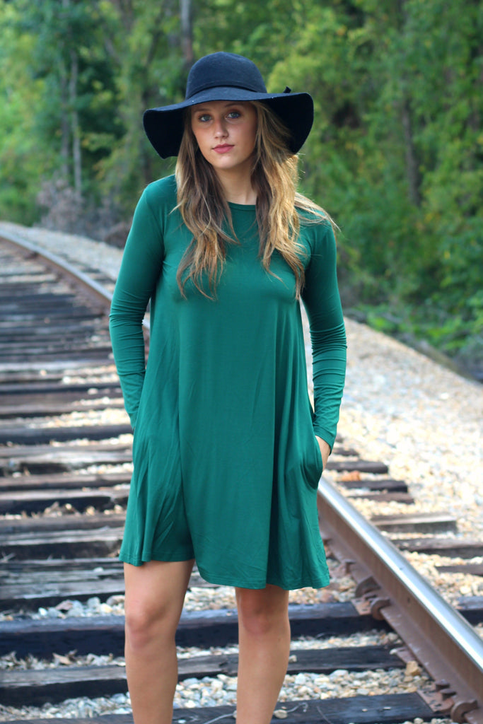 Long Sleeve Piko Swing Dress- Forest Green Arabella Boutique