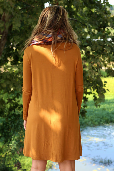 Long Sleeve Piko Swing Dress- Mustard Arabella Boutique