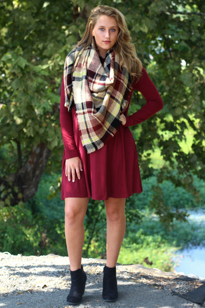Long Sleeve Piko Swing Dress- Plum Arabella Boutique