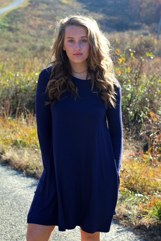 Long Sleeve Piko Swing Dress- Navy