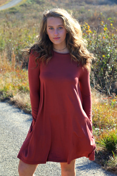 Long Sleeve Piko Swing Dress- Rust