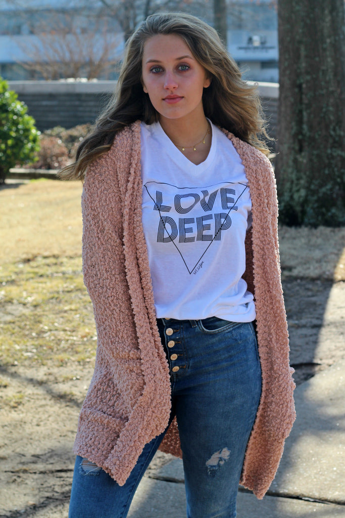 Love Deep V-Neck Short Sleeve Tee- White