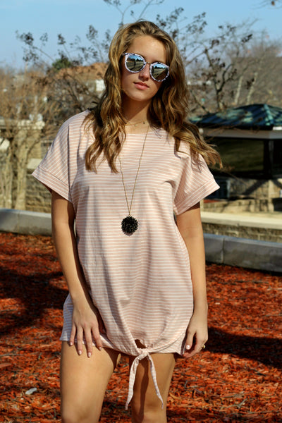 Love Me Knot T-shirt Dress- Blush