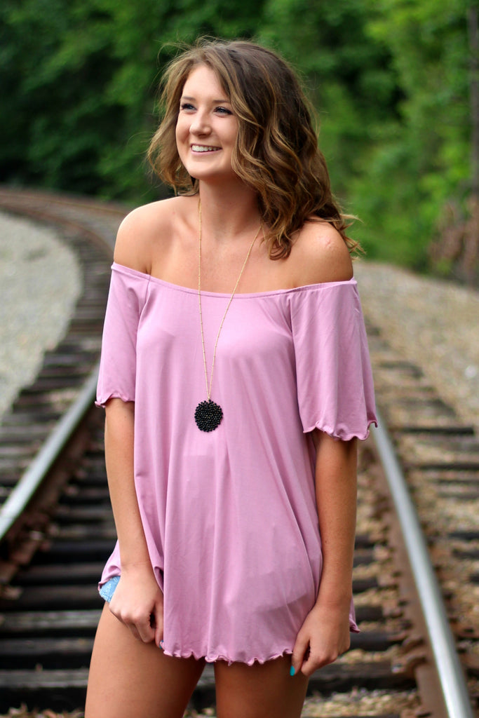 Off the Shoulder Piko Top- Light Mauve Arabella Boutique