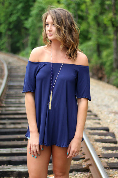 Off the Shoulder Piko Top- Navy Arabella Boutique