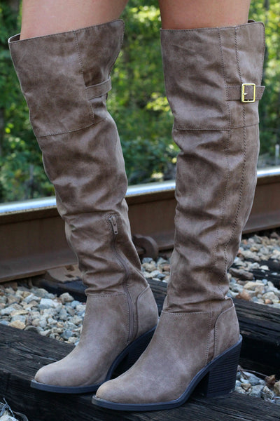SALE- Over the Knee Booties- Taupe