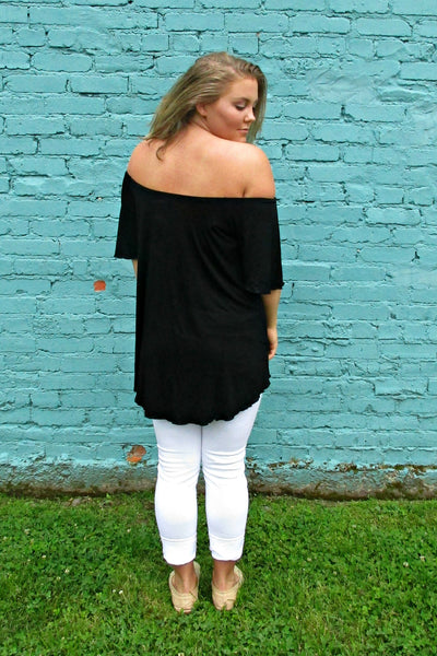 Off The Shoulder PIKO Top-Black - Arabella Boutique - 2