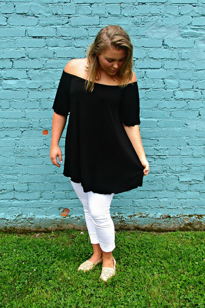 Off The Shoulder PIKO Top-Black - Arabella Boutique - 1