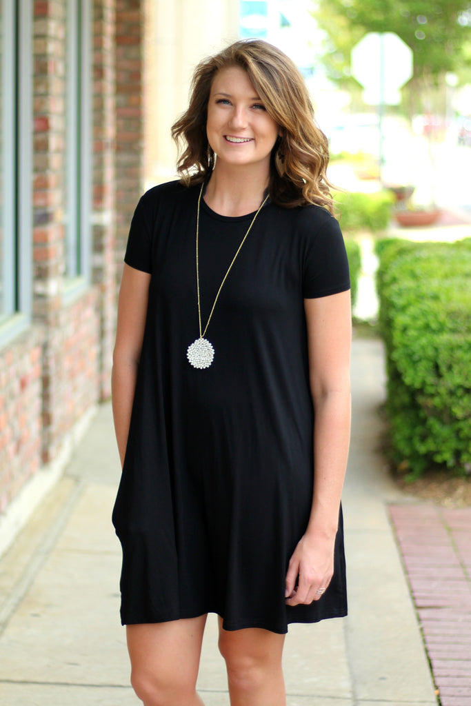 Short Sleeve Piko Swing Dress- Black Arabella Boutique