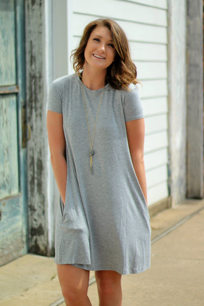 Arabella Boutique Short Sleeve Piko Swing Dress Heather Grey Front