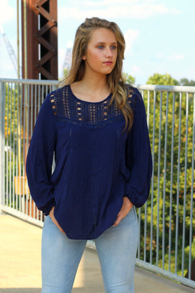 Sass and Class Top- Navy Arabella Boutique
