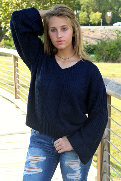 She's Got Style Sweater- Navy