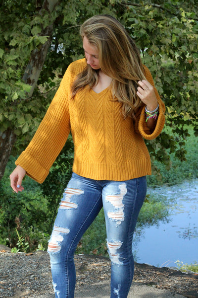 SALE- She's Got Style Sweater- Mustard