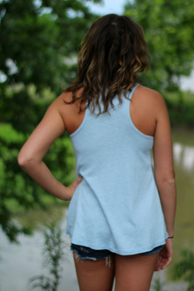 Show Me Love Ribbed Tank- Sea Mist