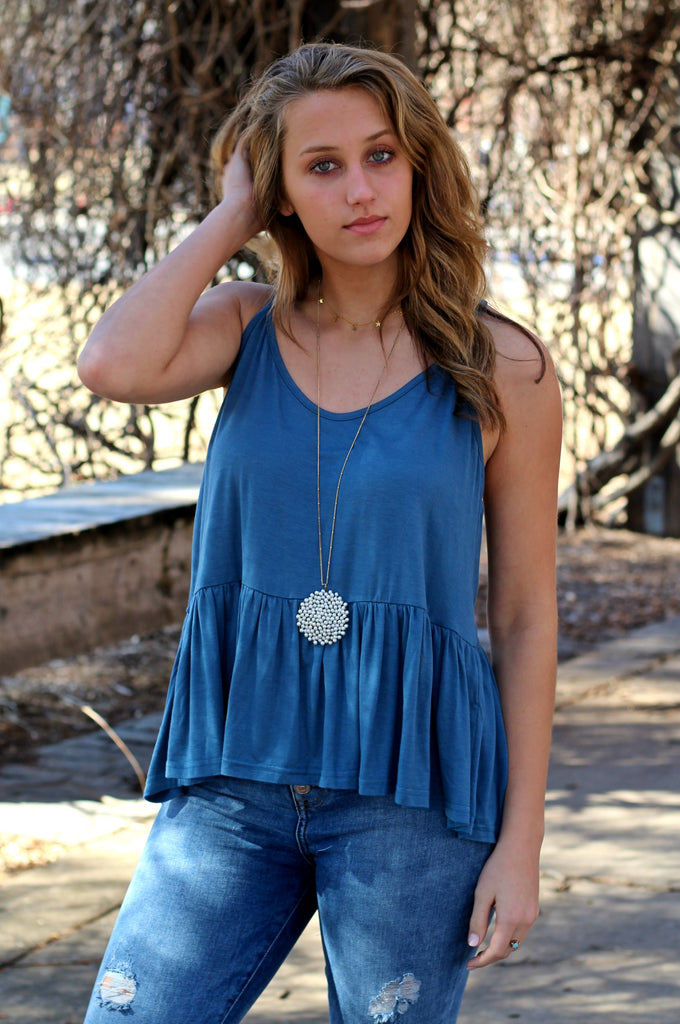 Simple and Sweet Tank- Blue