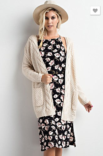 Snuggle Up Cardigan- Natural
