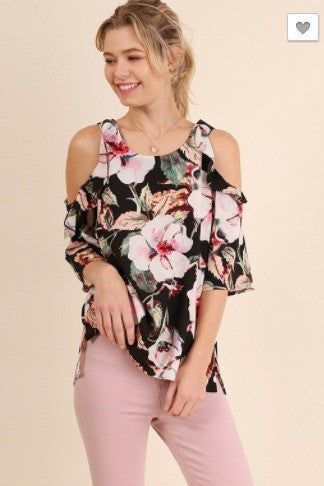 SALE- Think Tropical Top- Black