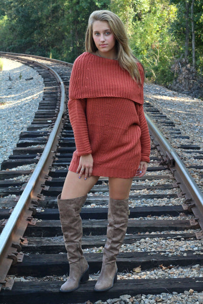 Warm and Toasty Sweater- Rust