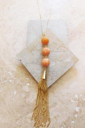 Marble Facet Tassel Necklace- Apricot