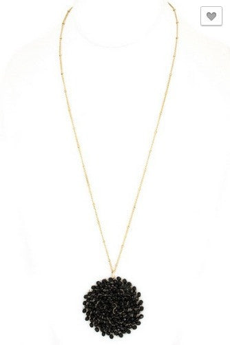 Beaded Swirl Necklace- Black
